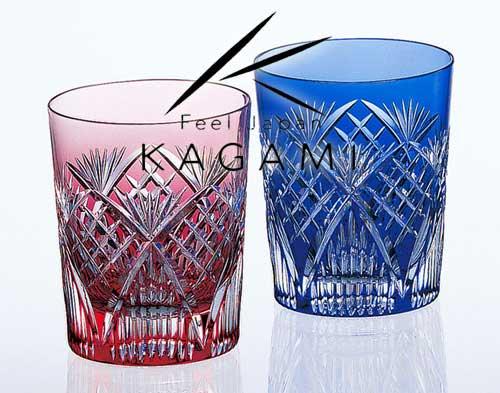 江戸切子(笹っ葉に斜格子) ペアロックグラス [#2652]|カガミクリスタル