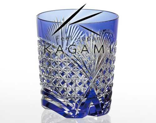 吟撰・江戸切子(笹っ葉に四角籠目紋) 青色ロックグラス [T493-2522-CCB]|カガミクリスタル