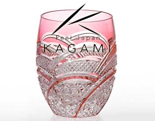 吟撰・江戸切子(魚子に麻の葉紋) 赤色ロックグラス [T428-2523-CAU]|カガミクリスタル