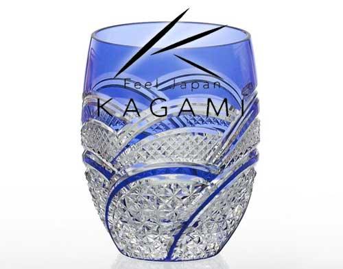 吟撰・江戸切子(魚子に麻の葉紋) 青色ロックグラス [T428-2523-CCB]|カガミクリスタル