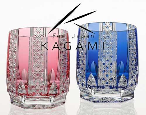 吟撰・江戸切子 ペアロックグラス(金赤と青) - 八角籠目 紋 [TPS704-2629-AB]|カガミクリスタル