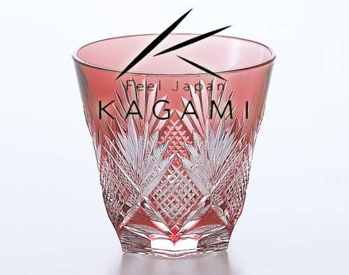 江戸切子(斜十文字に矢来笹) 金赤色・冷酒杯 [T615-1433-CAU]|カガミクリスタル