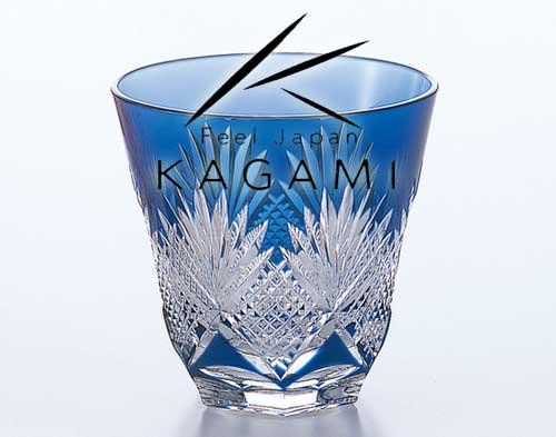 江戸切子(斜十文字に矢来笹) 青色・冷酒杯 [T615-1433-CCB]|カガミクリスタル