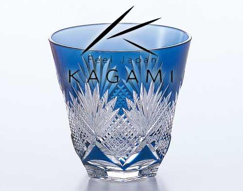 江戸切子(斜十文字に矢来笹) 青色 冷酒杯 [T615-1433-CCB]|カガミクリスタル