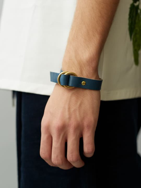BRITANNIA LEATHERS / RING BRACELET / NAVY BLUE photo