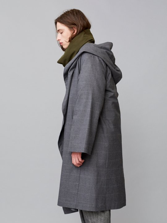 TROVE / KANGAS HOODED GOWN / GRAY CHECK photo