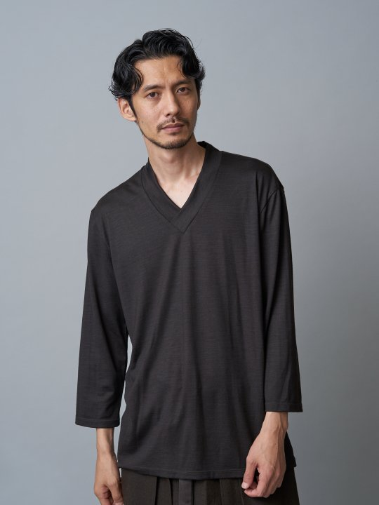 WAROBE / JUBAN 7SLEEVE KNIT / DARK BROWN photo