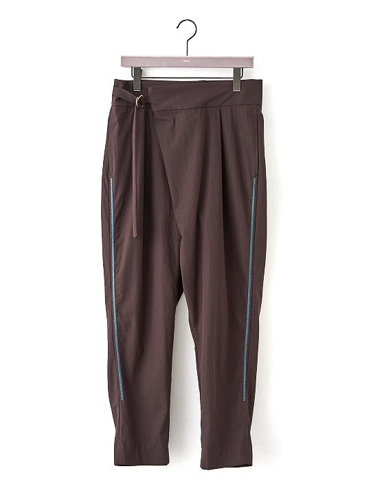 TROVE / EMBROIDERED WRAP PANTS / DARK BROWN photo
