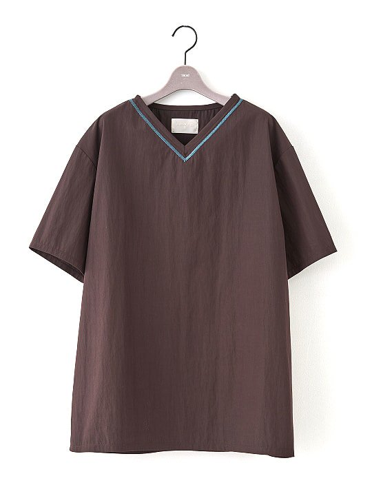 【PRE-ORDER】TROVE / EMBROIDERED V-NECK / DARK BROWN photo