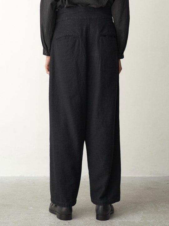 TROVE / DENIM WRAP PANTS / BLACK photo