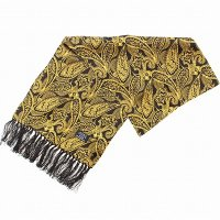 TOOTAL Golden Paisley Silk Scarf