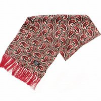 TOOTAL Burgundy Paisley Silk Scarf