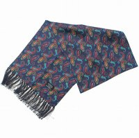 <img class='new_mark_img1' src='https://img.shop-pro.jp/img/new/icons47.gif' style='border:none;display:inline;margin:0px;padding:0px;width:auto;' />TOOTAL<p>Navy Paisley Silk Scarf