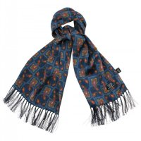 <img class='new_mark_img1' src='https://img.shop-pro.jp/img/new/icons5.gif' style='border:none;display:inline;margin:0px;padding:0px;width:auto;' />TOOTAL - Tile & Paisley Silk Scarf - Navy