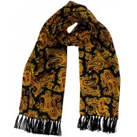 <img class='new_mark_img1' src='https://img.shop-pro.jp/img/new/icons5.gif' style='border:none;display:inline;margin:0px;padding:0px;width:auto;' />TOOTAL Black & Gold Paisley Scarf