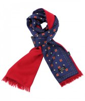 <img class='new_mark_img1' src='https://img.shop-pro.jp/img/new/icons5.gif' style='border:none;display:inline;margin:0px;padding:0px;width:auto;' />TOOTAL - Navy Motif Print Silk Scarf - 裏地付