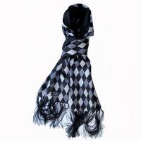 SALE 40% OFF<p>TOOTAL - Diamond Print Silk Scarf - Black Mix