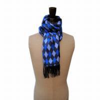 SALE 40% OFF<br>TOOTAL - Daiamond Print Silk Scarf - Cobalt Blue Mix