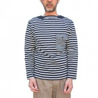 <img class='new_mark_img1' src='https://img.shop-pro.jp/img/new/icons24.gif' style='border:none;display:inline;margin:0px;padding:0px;width:auto;' /> 30% OFF - Nigel Cabourn - Basque Shirt (Rope Yarn) カットソー (ネイビー)