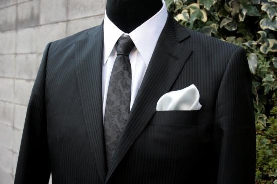シルク100%ポケットチーフ[ライトグレーno2]シルクチーフ