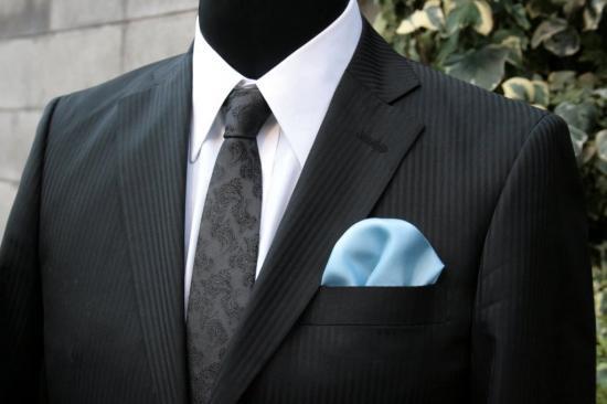 シルク100%ポケットチーフ[ライトブルーNo5]シルクチーフ