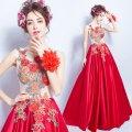 オーダーメイド Aライン ノースリーブ 花模様刺繍 カラーデザイン ウェディングドレス OY037