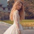 オーダーメイドウェディングドレス Aライン ロングトレーン 8分丈袖 NY072