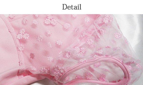 バレエ用品 子供用 胸元から袖までフラワーメッシュレース パフスリーブレオタード全3色[B対象]♪*oroi-91