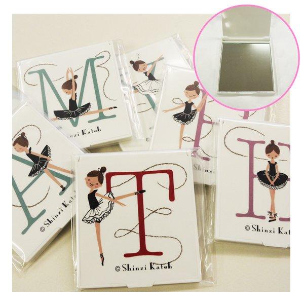 バレエ小物 Shinzi Katoh イニシャル携帯スタンドミラー 日本製 バレリーナ柄 バレエ用品 mr40