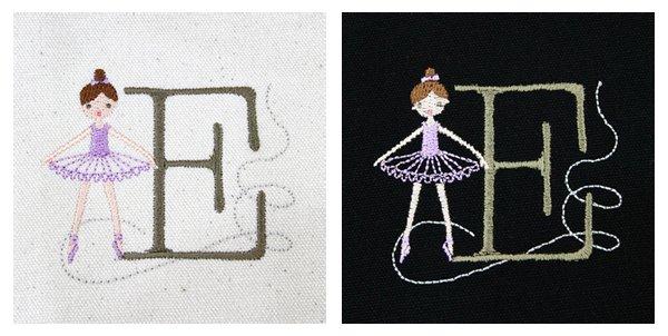 バレエ小物 Shinzi Katoh Balletイニシャル 刺繍トートバッグ バレリーナ刺繍 バレエ用品mimt
