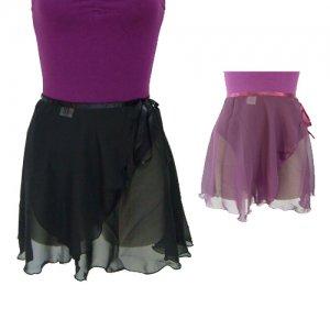 バレエ シフォン巻きスカート 丈35cm 2色  シルエットの綺麗なスカート 大人用*600450