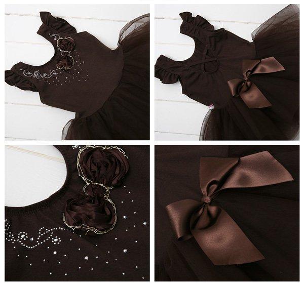 子供用バレエレオタード 胸元きらきらエンジェルチュチュレオタード[ホワイト・チョコレート]b797-b801