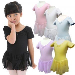 子供用 ラインストーンスカート付半袖バレエレオタード[6色][A対象]*cbl25