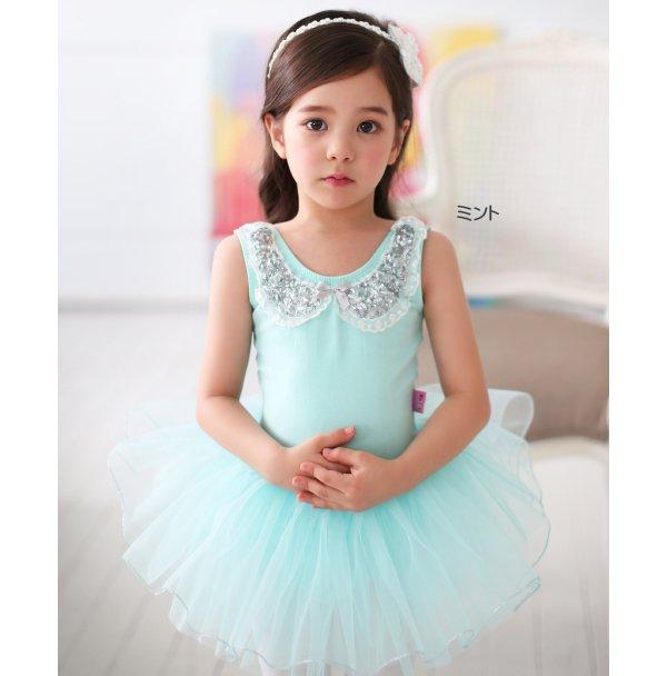 バレエレオタード スパンコール襟デザインミンキーシャーベットチュチュ[ホワイト・ピンク・ネイビー・ミント・ラベンダー]*b833
