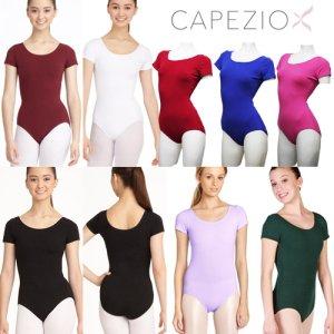 Capezio[カペジオ]ショートスリーブレオタード全10色 半袖バレエレオタード[大人set対象]*cc400