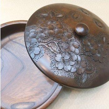 菓子器(サクラ柄)-本桜、ケヤキ