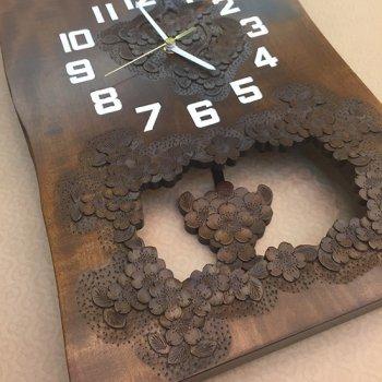 自然木振り子時計(さくら柄)