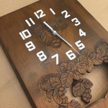 自然木振り子時計(ぶどう柄)