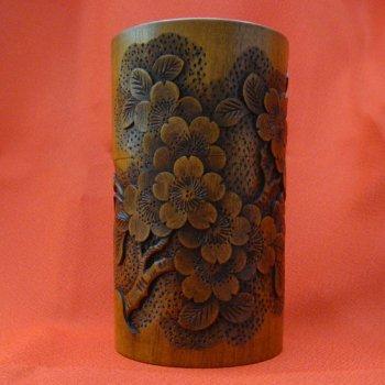桜拭漆茶筒