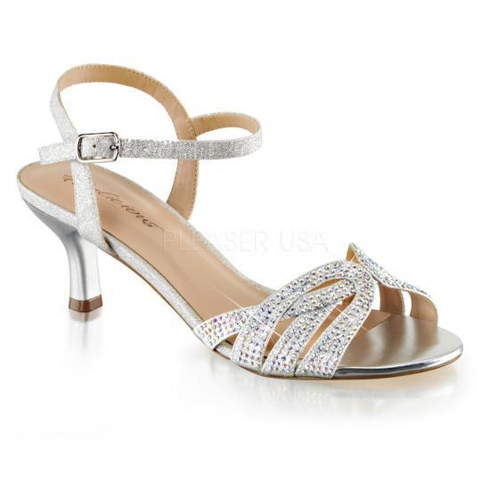 取寄せ靴 キトゥンヒール キラキララインストーン ベルト付き 薄厚底サンダル 6.5cmヒール 銀 シルバー ファブリック Pleaserプリーザー 大きいサイズ…