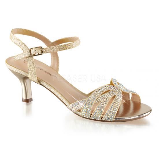取寄せ靴 キトゥンヒール キラキララインストーン ベルト付き 薄厚底サンダル 6.5cmヒール 肌色 ヌード ファブリック Pleaserプリーザー 大きいサイズ…