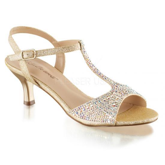 取寄せ靴 キトゥンヒール Tストラップ キラキララインストーン ベルト付き 薄厚底サンダル 6.5cmヒール 肌色 ヌード ファブリック Pleaserプリーザー 大きいサイズ…