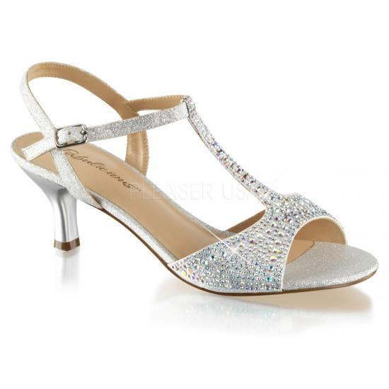 取寄せ靴 キトゥンヒール Tストラップ キラキララインストーン ベルト付き 薄厚底サンダル 6.5cmヒール 銀 シルバー ファブリック Pleaserプリーザー 大きいサイズ…