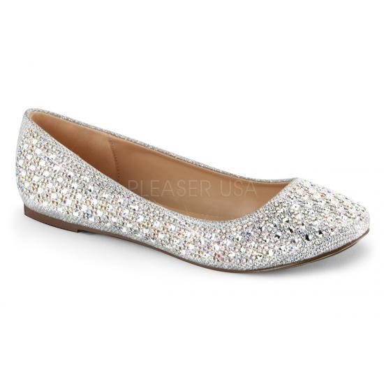 取寄せ靴 新品 ラウンドトゥ きらきらラメ風 ラインストーン付き フラット ぺたんこ パンプス 銀 シルバー グリッター メッシュ ファブリック 大きいサイズ…