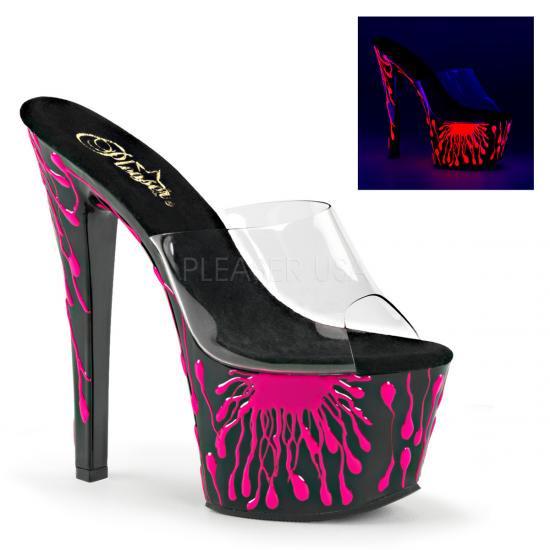 取寄せ靴 新品 キャバ系 ストームがブラックライトに浮かぶきれいな蛍光色 厚底ミュールサンダル 17.5cmピンヒール クリア 黒 ブラック ネオン ホットピンク Pleaserプリー…