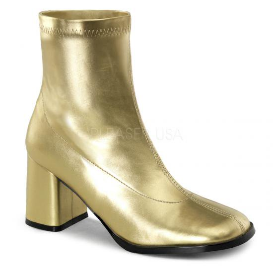 取寄せ靴 コスプレ系 ストレッチ アンクル ショートブーツ 8cmチャンキーヒール 金 ゴールド つや消し FUNTAZMAファンタズマ 大きいサイズ…