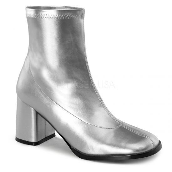 取寄せ靴 コスプレ系 ストレッチ アンクル ショートブーツ 8cmチャンキーヒール 銀 シルバー つや消し FUNTAZMAファンタズマ 大きいサイズ…