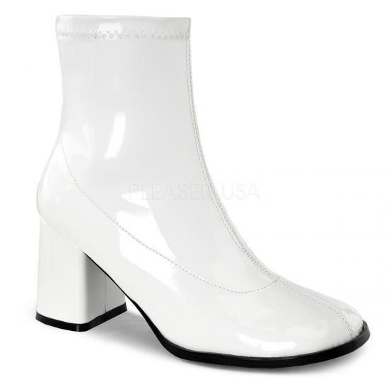取寄せ靴 コスプレ系 ストレッチ アンクル ショートブーツ 8cmチャンキーヒール 白 ホワイト エナメル FUNTAZMAファンタズマ 大きいサイズ…
