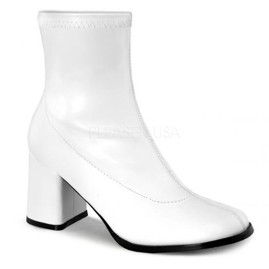 即納靴 コスプレ系 ストレッチ アンクル ショートブーツ 8cmチャンキーヒール 白 ホワイト つや消し FUNTAZMAファンタズマ 大きいサイズ…