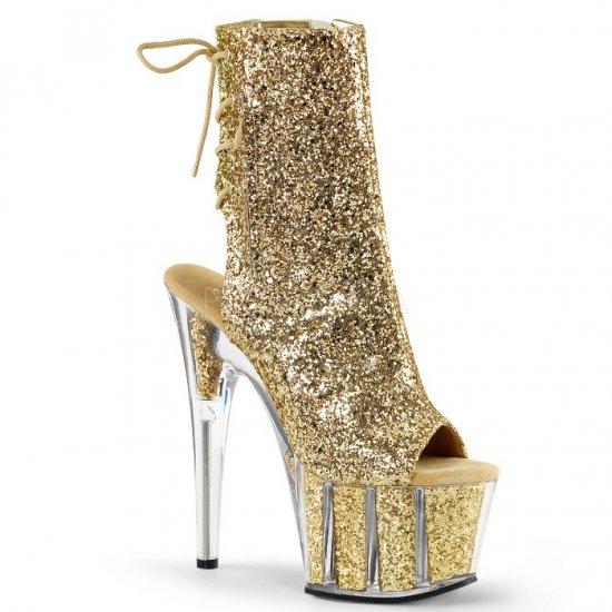 取寄せ靴 送料無料 キラキラ ラメ レースアップ 厚底 ショートブーツ サイドジッパー付き 17.5cmピンヒール 金 ゴールド グリッター Pleaser プリーザー 大きいサイズ…